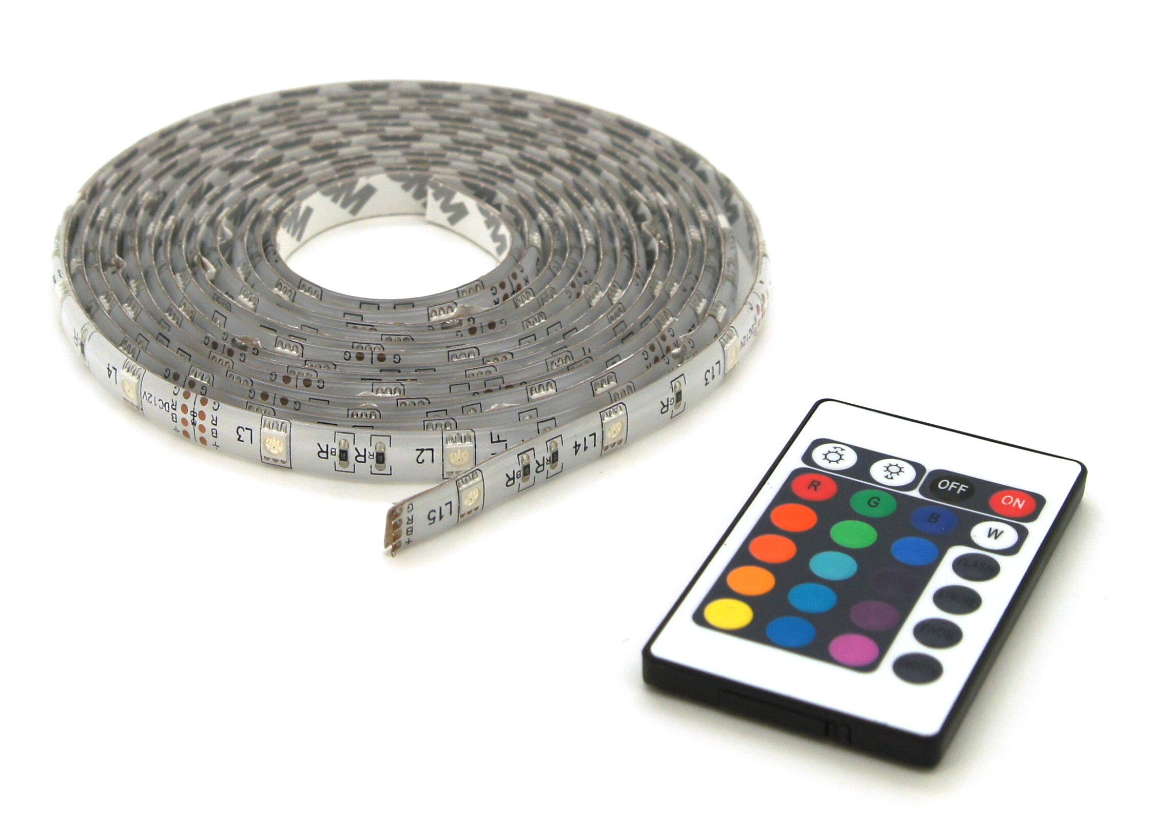Multicolor LED strip lights IP44 5m + remote control