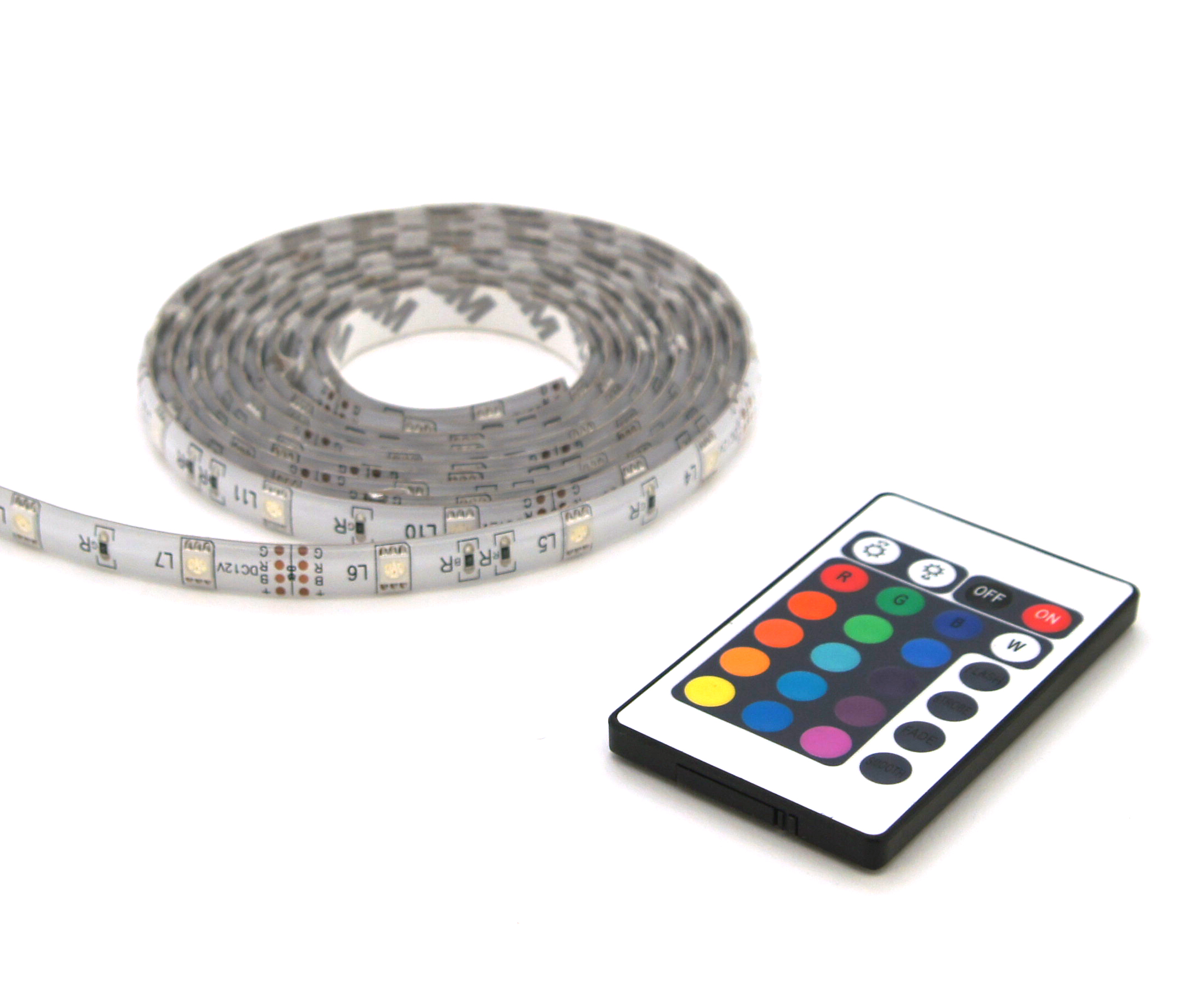 Multicolor LED strip lights IP44 2m + remote control